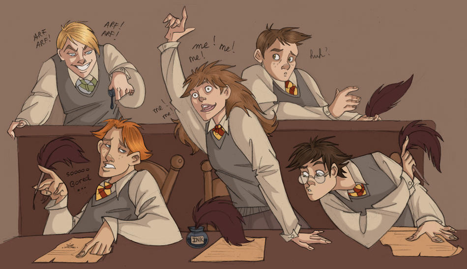 Typical Hogwarts Class Scene by kyla79