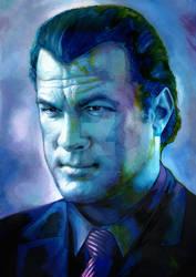 Steven Seagal painted Portrait