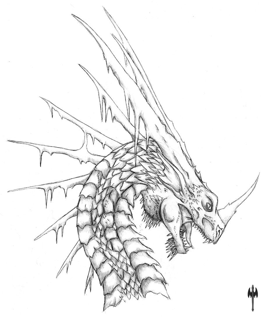 Evil dragon coloring pages for adults