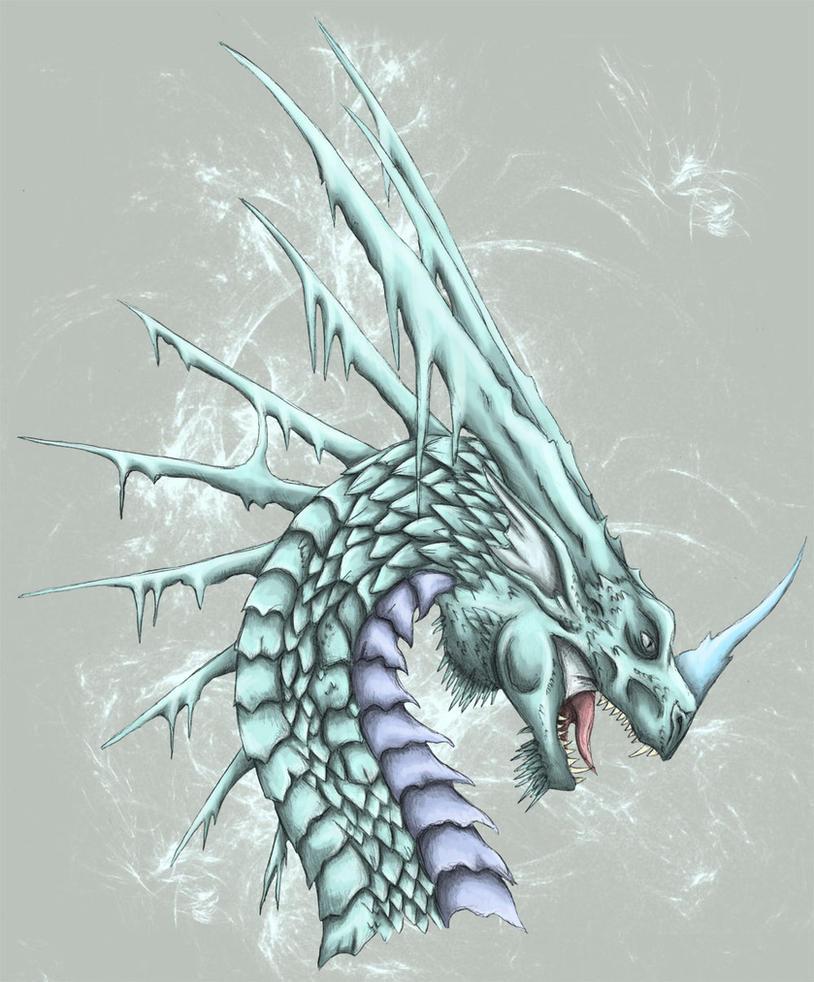 ice dragon head by sheranuva on deviantart