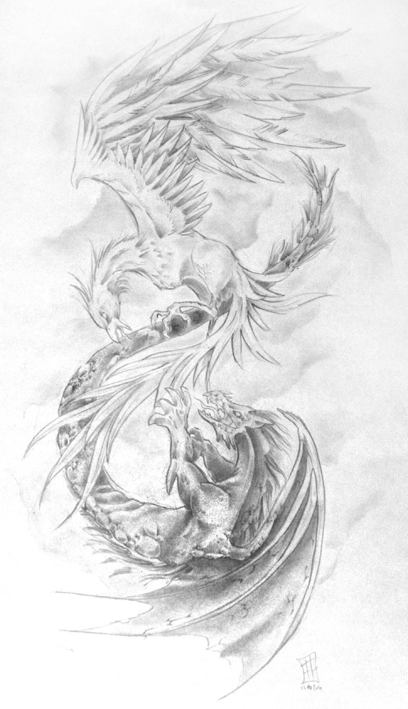 "Eagle Vs Dragon Drawing ""Phoenix vs Drago..."
