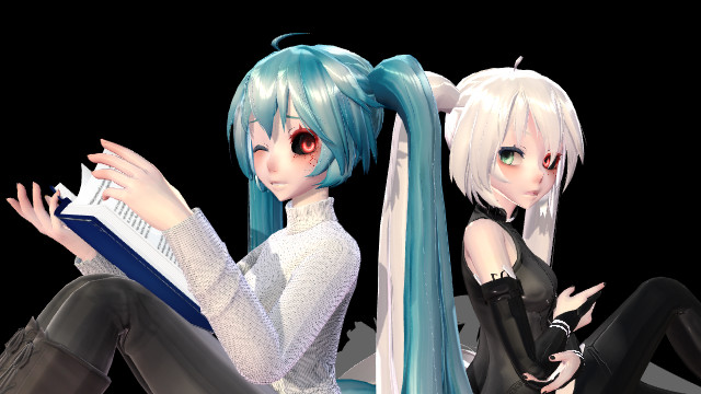 Hatsune Miku Ghoul [Blue hair and White hair] by Qoxach