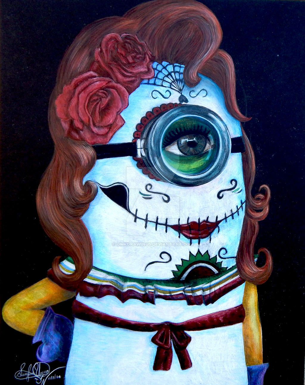 SUGAR SKULL MINION Day Of The Dead By OMKDrawings