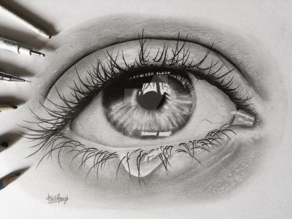 Teary eye pencil drawing by morningcoffeebreak