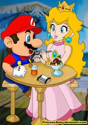 Mario and Peach - Gelato beach by Princesa-Daisy