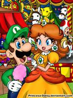 Luigi and Daisy - Night festival by Princesa-Daisy