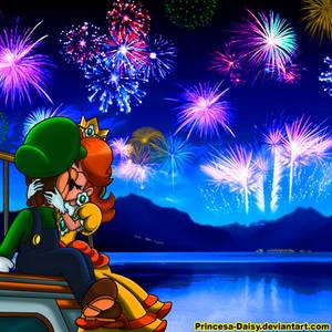 Luigi and Daisy - New Year's Eve kiss