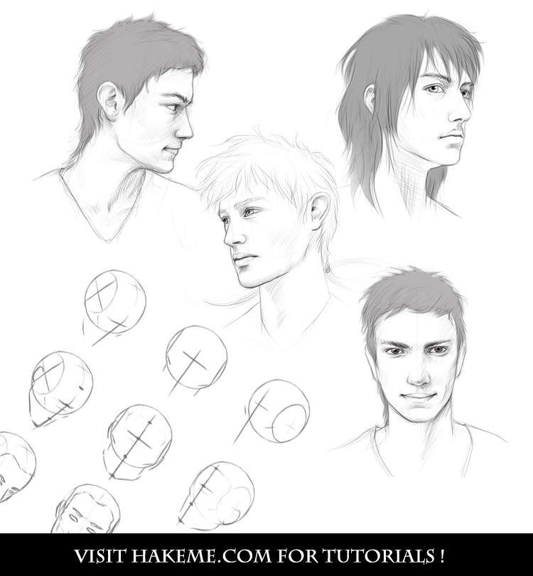 Male head sketches by NImportant