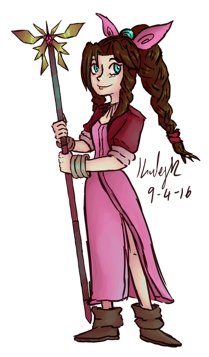 Warm up 9-4-16: Aerith by AbyssinChaos