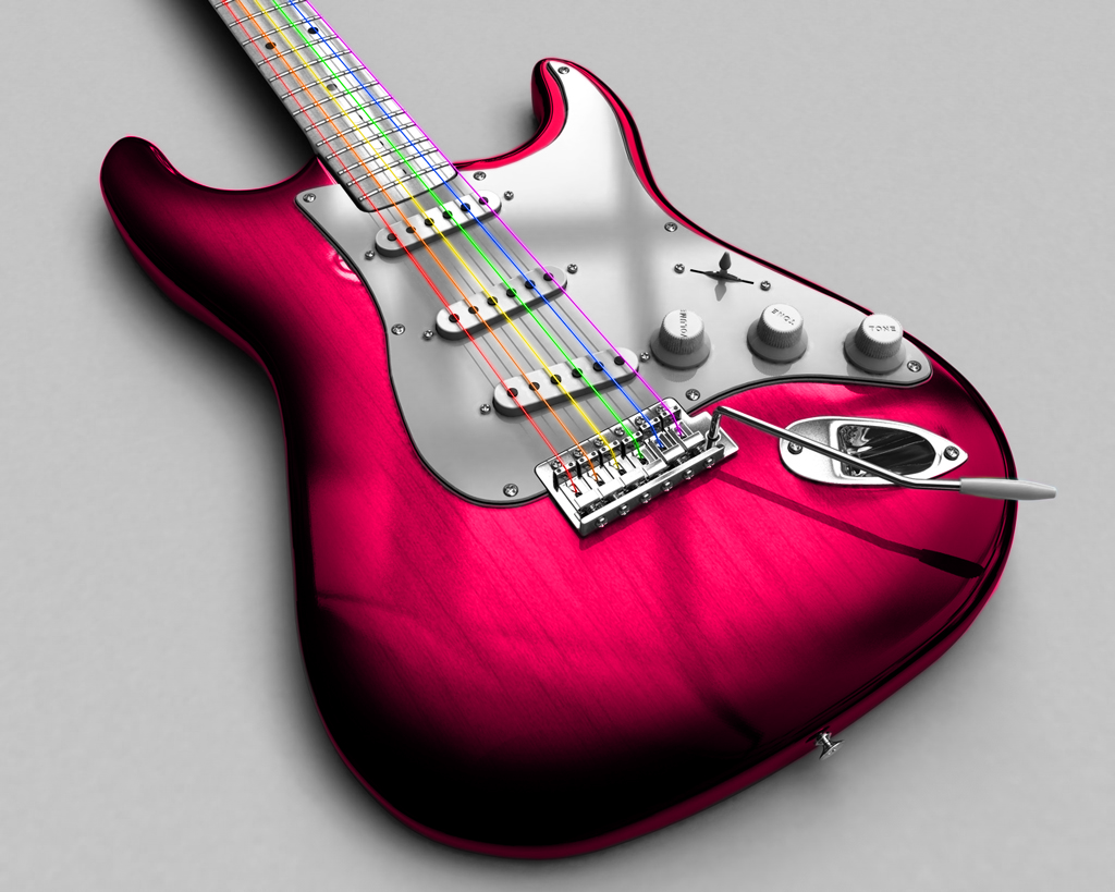 Pink guitar wallpaper