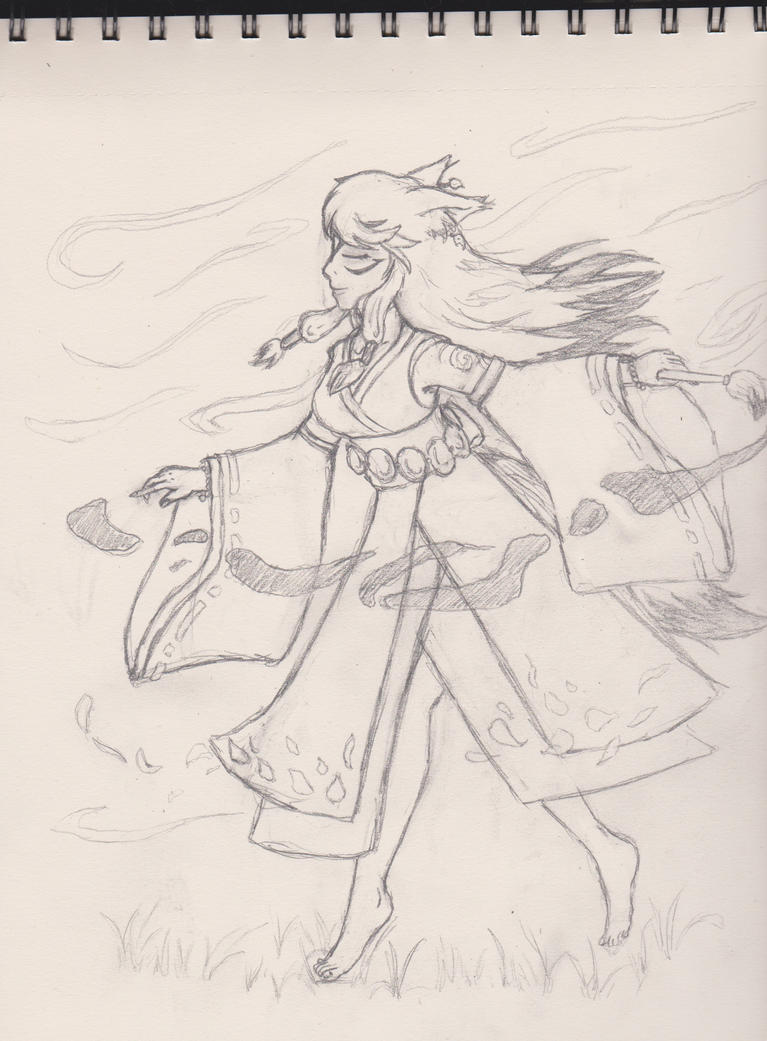 Work Sketches- Amaterasu dancing by whiskers