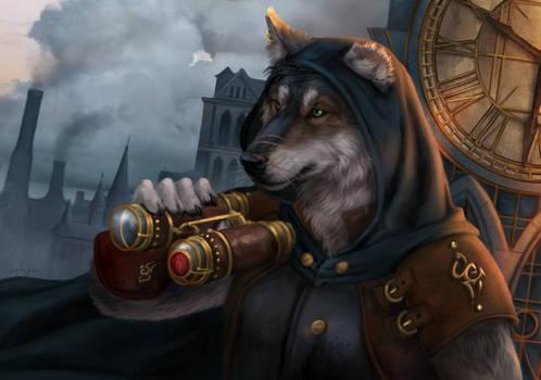 Wolf of steampunk