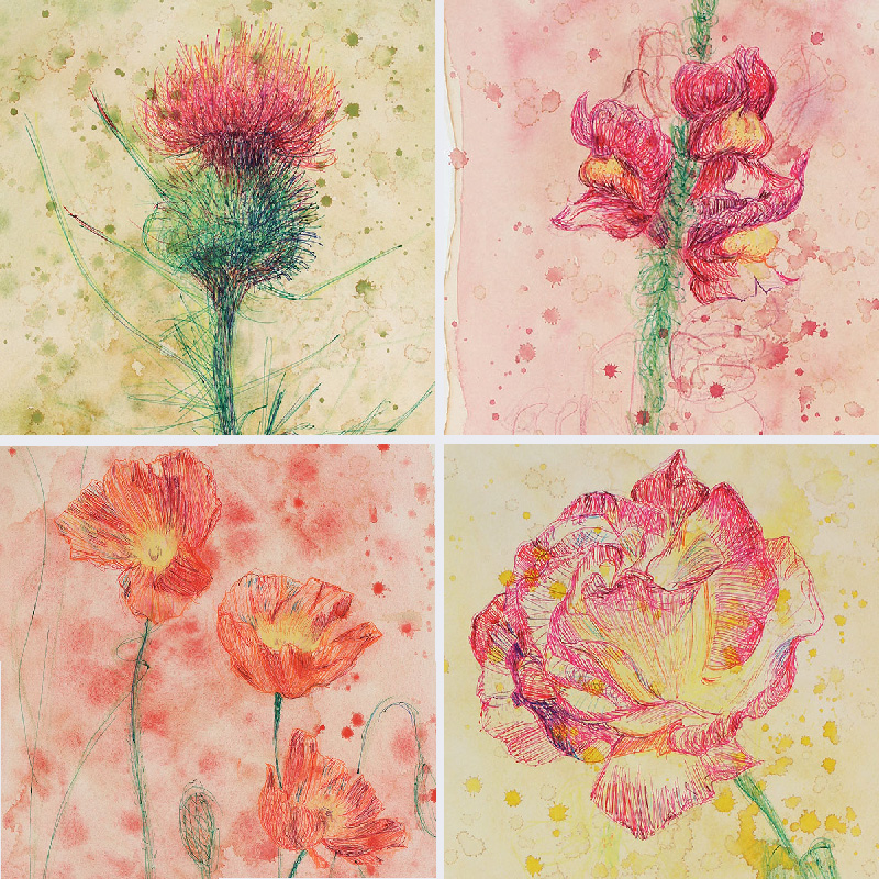 Thistle, Snap Dragon, Poppies, and Rose by heartMelinda