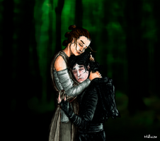 Rey and Kylo Ren hug by Heloise-Indecise