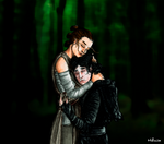 Rey and Kylo Ren hug