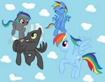 Rainbow Dash and Thunderlane family by KAWAT3NGUSAN