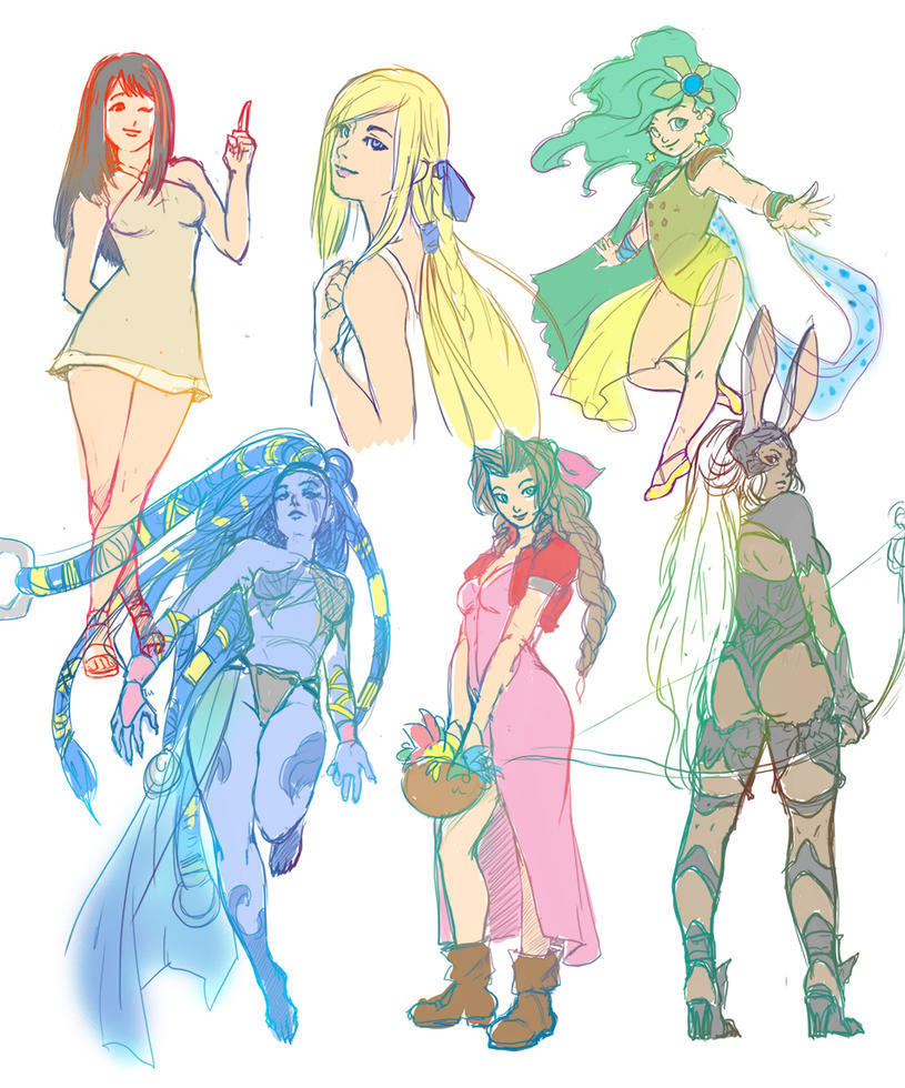 FF girls breaksketch by LadyMignon