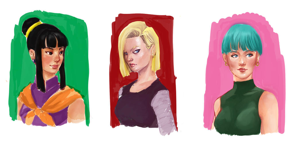DBZ girls sketches by LadyMignon