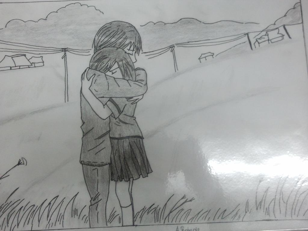 Anime girl and boy hugging goodbye by jubbiroberts on ...