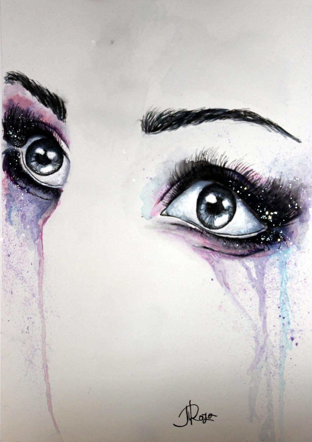 Acrylic Closed Eyes Painting