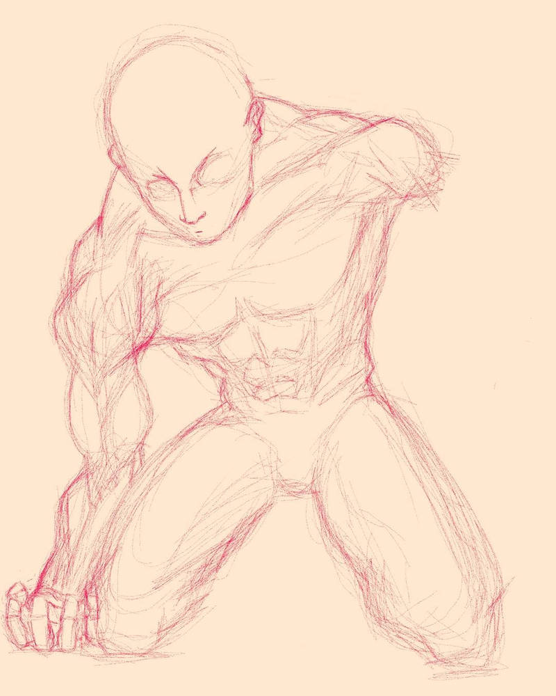 a sketch of a male human body by ITZbarnz