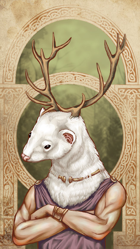 Celtic ferret god by Sylfaenn