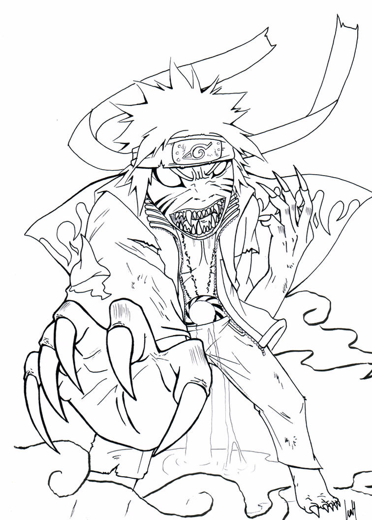 Naruto kyuubi mode coloring coloring pages for Naruto coloring pages