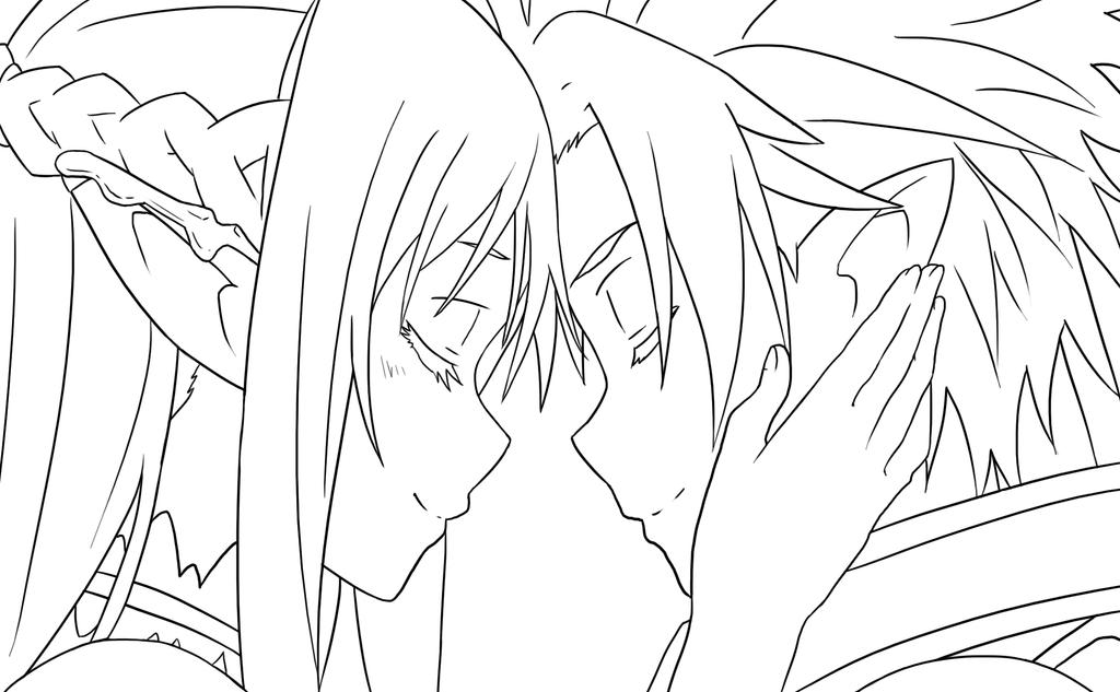Asuna Kirito Lineart Spoiler By NarutoXSakuraLOVE