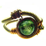 Steampunk Ring Moss Agate