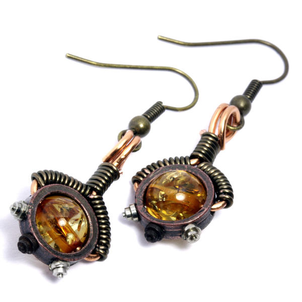 Amber Earrings on Steampunk Amber Earrings By  Catherinetterings On Deviantart