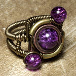 Orbit steampunk ring Purple