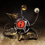 Steampunk Beholder sculpture