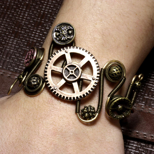 steampunk bracelet gear 3 by catherinetterings on deviantart