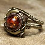 Steampunk Amber ring