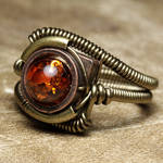 Steampunk Amber ring