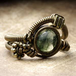 Steampunk moss Agate Ring