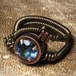 Steampunk Swissblue Topaz ring