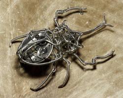 Steampunk Rhinoceros Beetle by CatherinetteRings