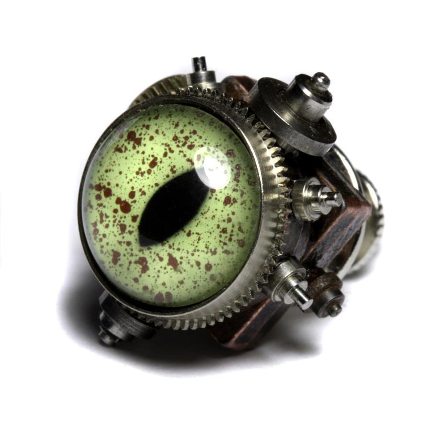 Reptile steampunk eye pin