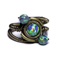 Steampunk Ring lab opal orbit by CatherinetteRings