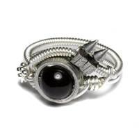 cyberpunk Onyx Ring spike by CatherinetteRings