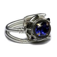 Cyberpunk ring Tanzanite Blue by CatherinetteRings
