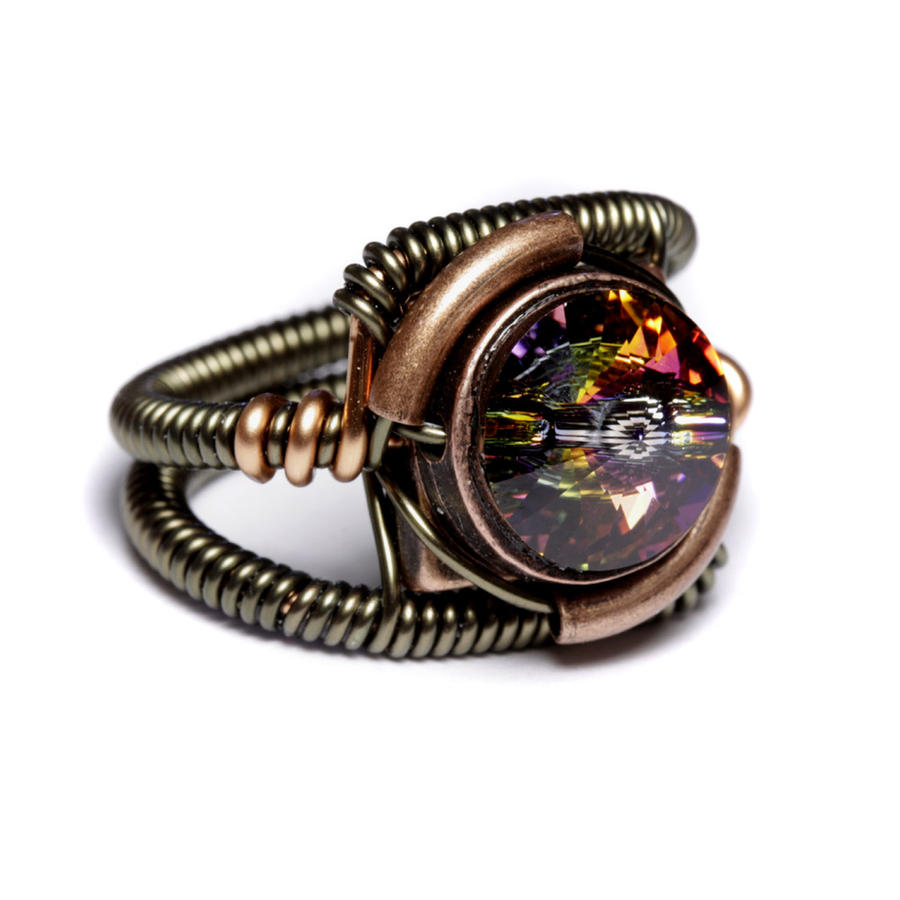 Steampunk Volcano Crystal Ring By Catherinetterings Steampunk Volcano  Crystal Ring By Catherinetterings