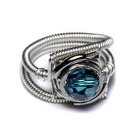 Cyberpunk Blue Zircon Ring by CatherinetteRings