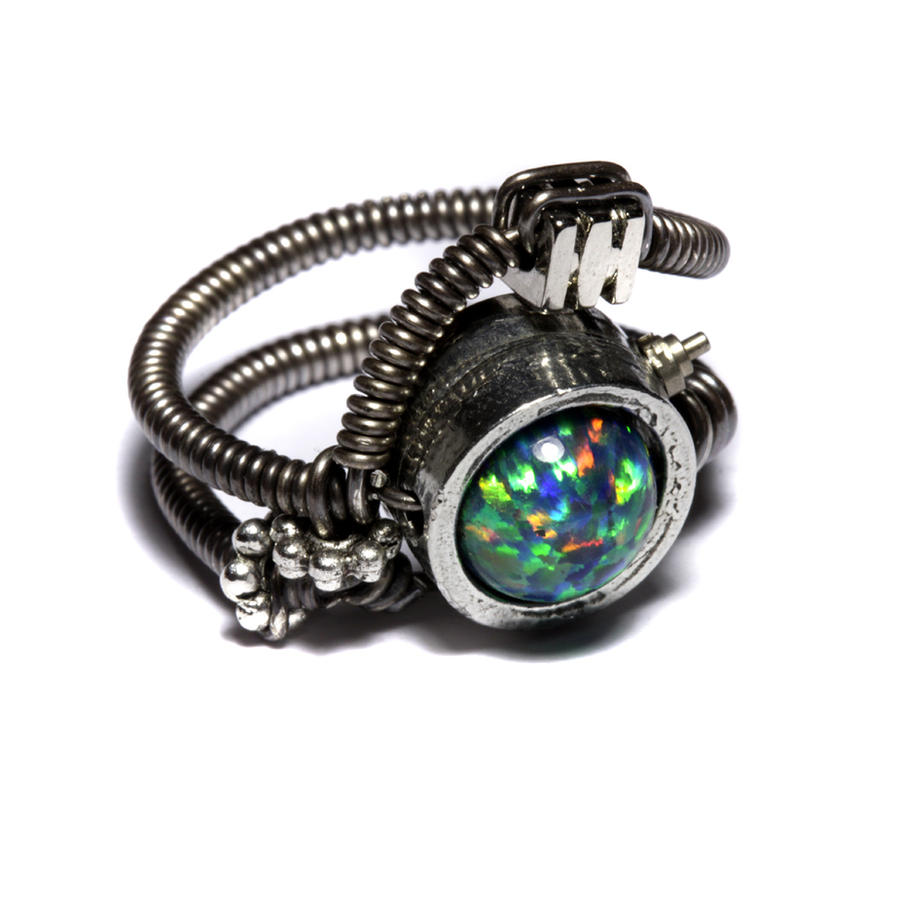 Cyberpunk opal ring by CatherinetteRings