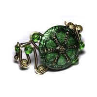 Steampunk Bracelet Green 2 by CatherinetteRings