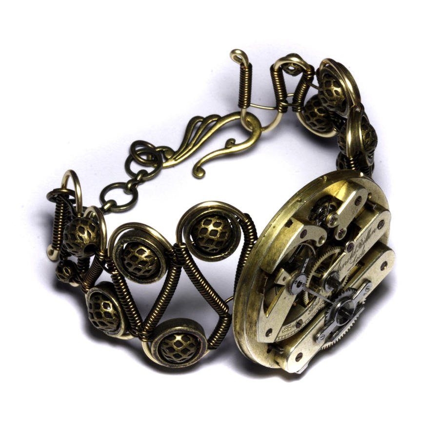Steampunk Bracelet Brass by CatherinetteRings