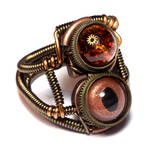 Steampunk Copper Amber Ring