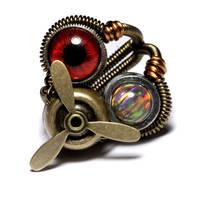 Steampunk Propeller Eye Ring by CatherinetteRings