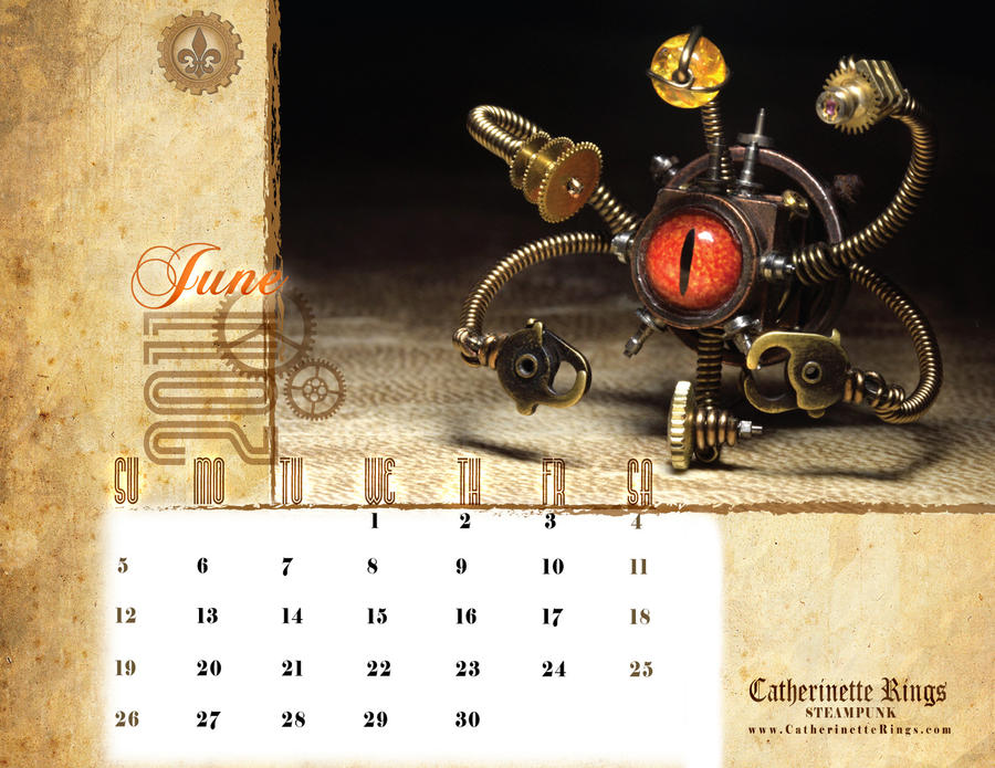 Steampunk Calendar June 2011 by CatherinetteRings